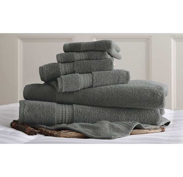 6 Piece 100% Cotton Towel Set by Three Posts